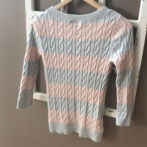 LOFT Sweaters - LOFT Pink Grey Cable Knit Spring Sweater Small EUC